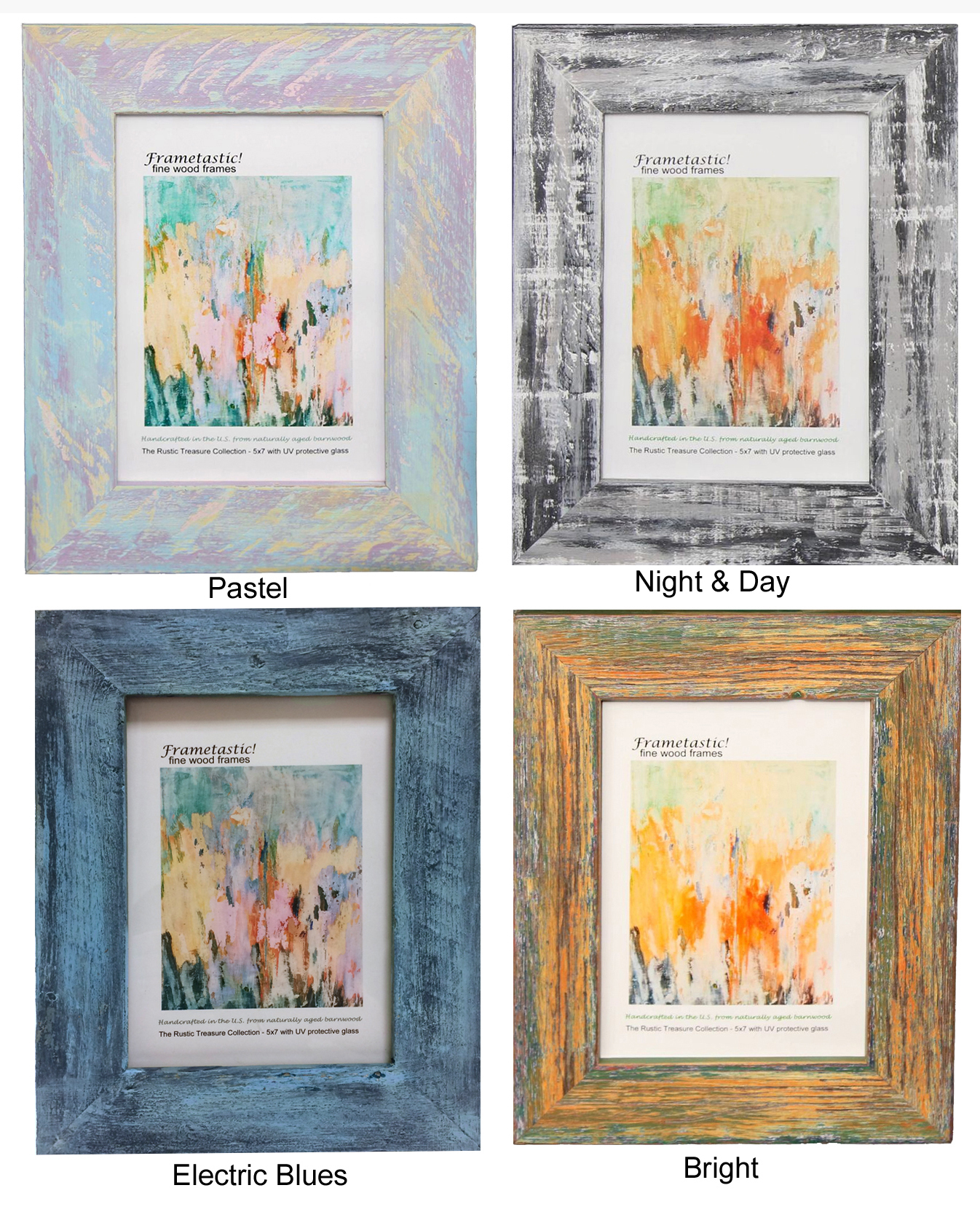 Upcycled barnwood frames with a fresco design