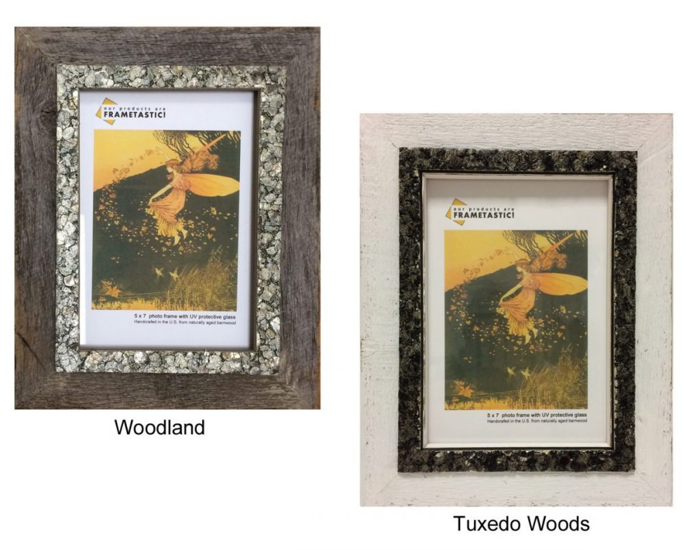 Barnwood photo frames with a rock border