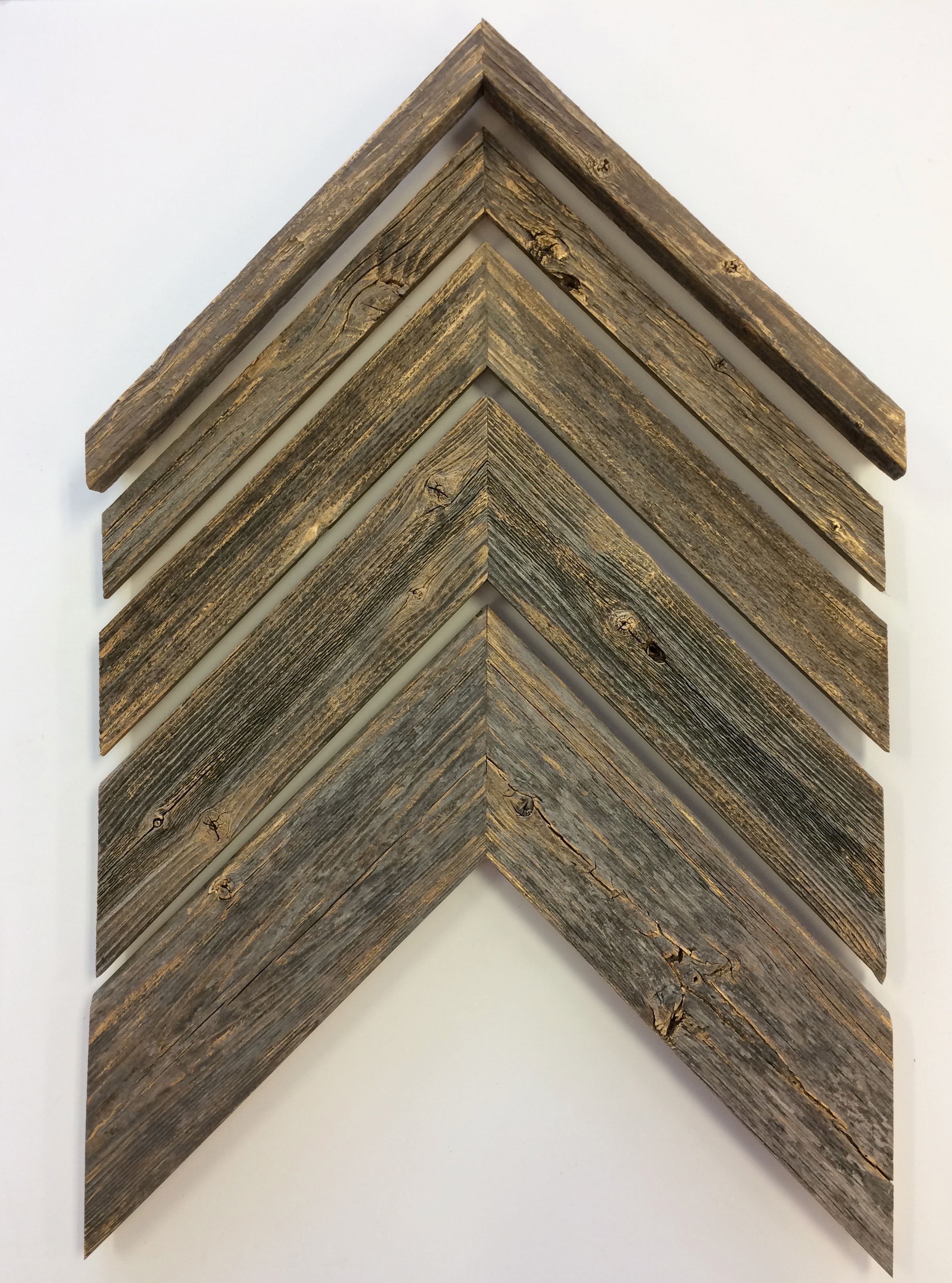 Barnwood moulding highlighted with gold leaf paint
