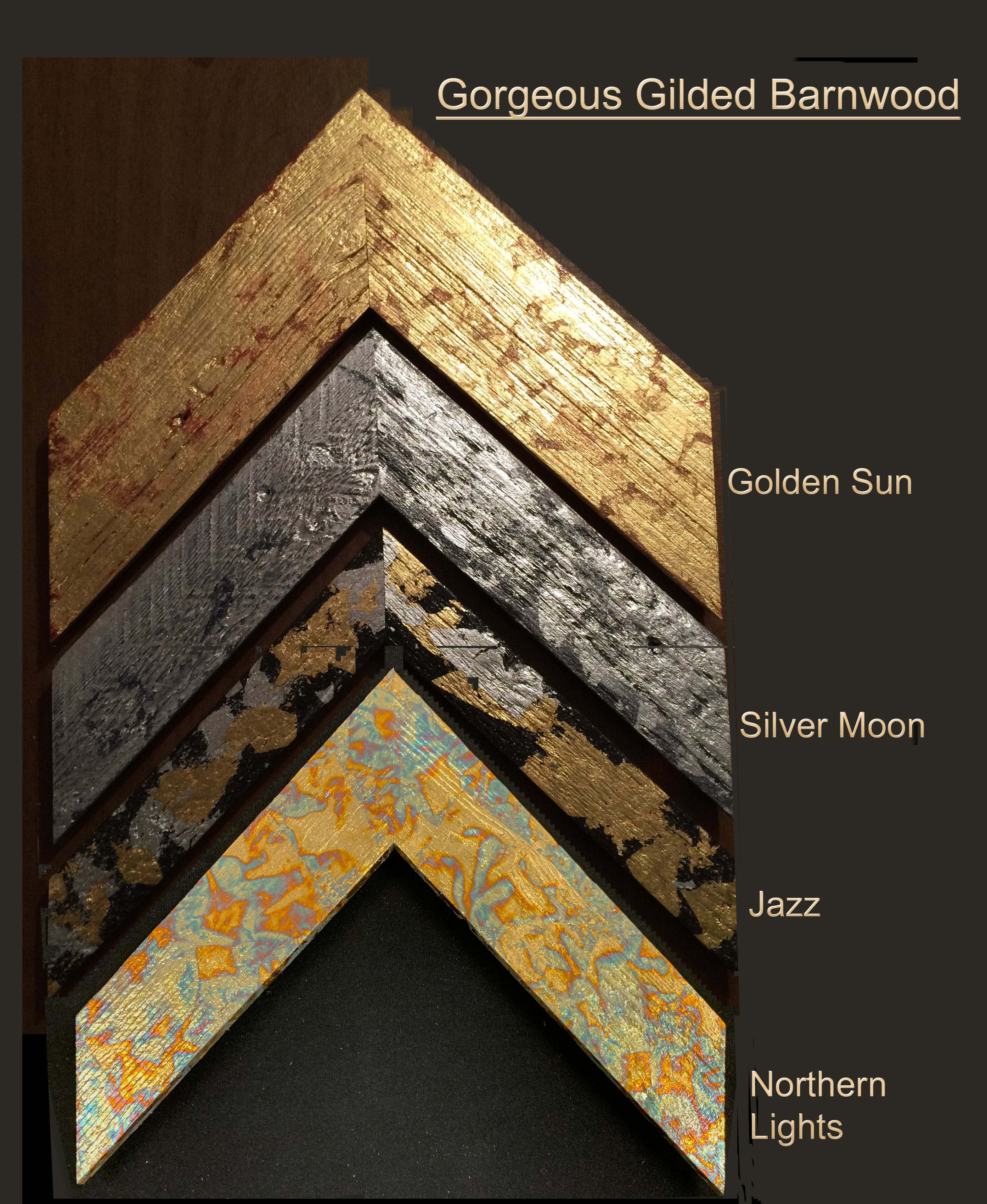 Barnwood painted and gilded with gold, silver, or verdigris metal leaf