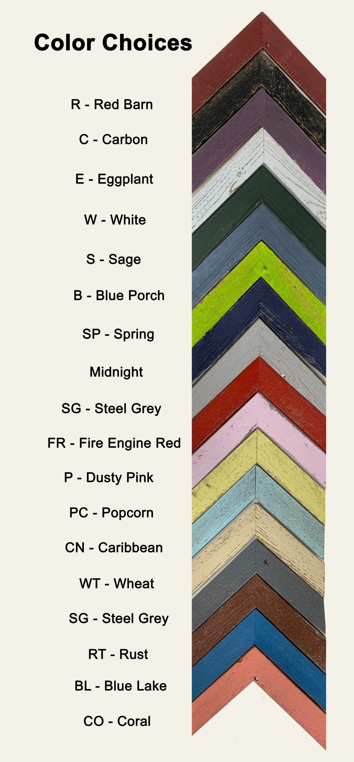Painted barnwood color choices