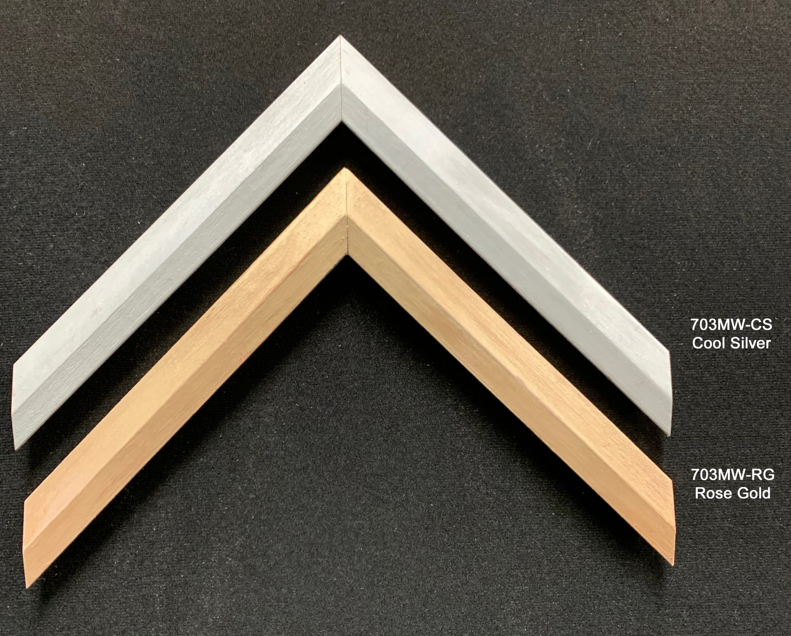 Wood moulding painted with a sleek metallic finish